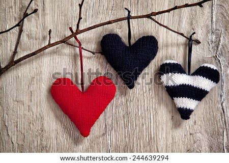 Valentines Day Heart on Wooden Background - stock photo