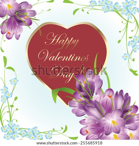 Valentines Day heart with spring flowers - raster - stock photo