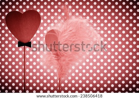 Valentines Day. Hearts Couple, Vintage. Retro Styled. Love concept on dots background - stock photo