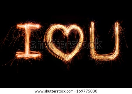 Valentines Day -  i love you sparkler firework light alphabet - stock photo