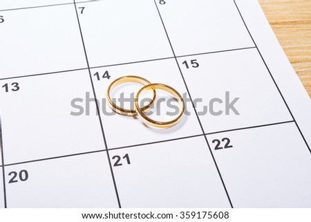 Valentines day in agenda with wedding ring