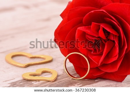 Valentines day in romance with red rose - stock photo