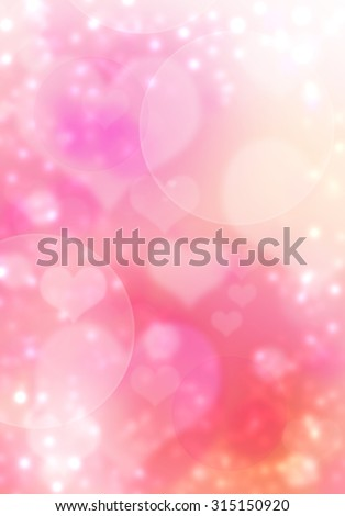 Valentines Day love beautiful. Valentine Day pink bokeh concept. Defocused bokeh lights shiny background with blinks and stars. Blurred hearts pink wonderful backdrop. Fairy tales star dust effect. - stock photo
