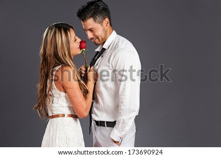 Valentines day: lovely couple and red rose