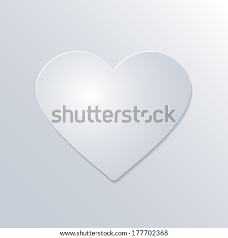 Valentines Day Paper Heart  on White Background - stock photo