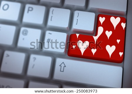 Valentines day pattern against red enter key on keyboard