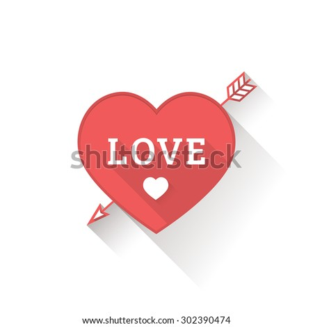 Valentines day red heart in a flat style - stock photo