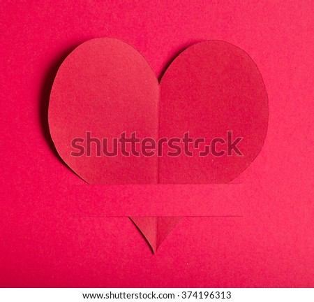 Valentines day,Red paper heart on red paper