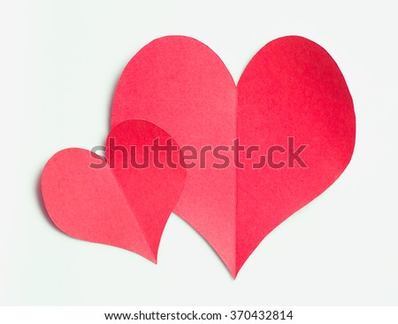 Valentines day,Red paper heart on white background