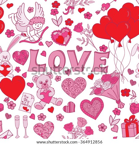 Valentines Day Seamless Pattern Background Love Stock Illustration