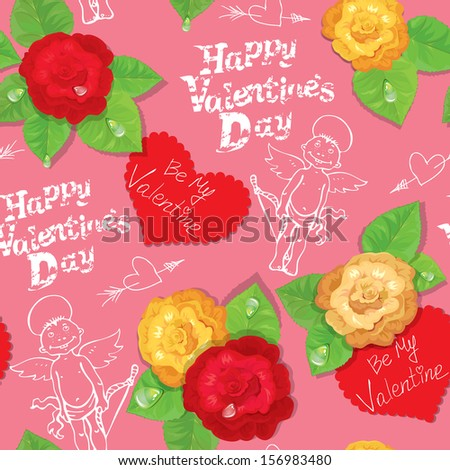 Valentines Day seamless pattern with hand drawn angels, hearts and roses on pink background. Raster version - stock photo