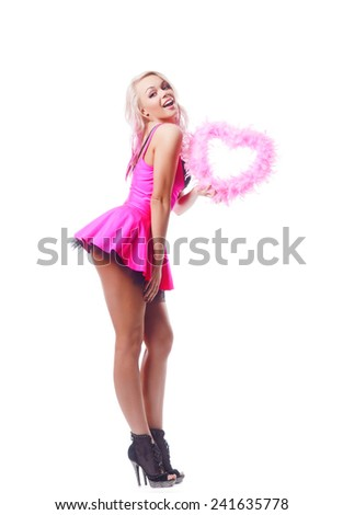 valentines day. sexy lady in pink dress