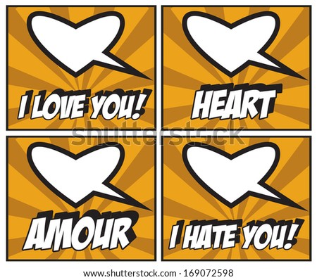 Valentines Day Stickers and speech bubbles I love You! Amore! Heart! I hate You! - stock photo