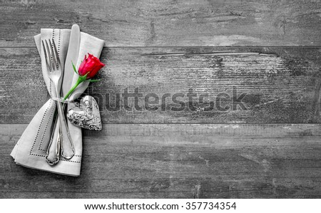 Valentines day table place setting. Holidays background - stock photo