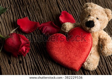 Teddy Bear Loving Cute With Red Hearts Sitting Alone Bouquet Of