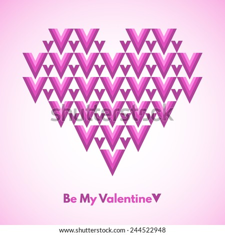 Valentines Day vector greeting card. Be My Valentine. Abstract geometrical heart with lettering. Pink colors. Conceptual, minimalist. Raster version. - stock photo
