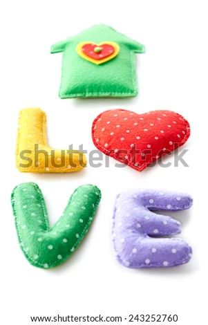 Valentines Day. Word Love dots, Heart, house Handmade. Vintage style. Love concept on white background  - stock photo