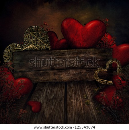 Valentines design - Hearts on wood. Valentine's day love card with red hearts. - stock photo