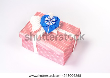 valentines gift box with blue paper heart