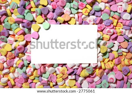 Valentines Heart Candy Background With A Card In The Middle