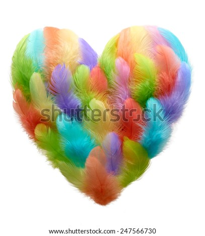 Valentines Heart shaped made of colorful feathers on white background. Love concept - stock photo