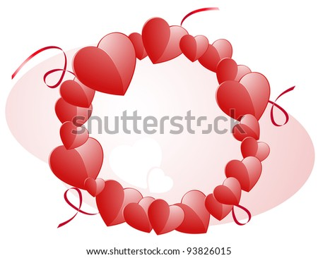 Valentines hearts and ribbons on a pink background