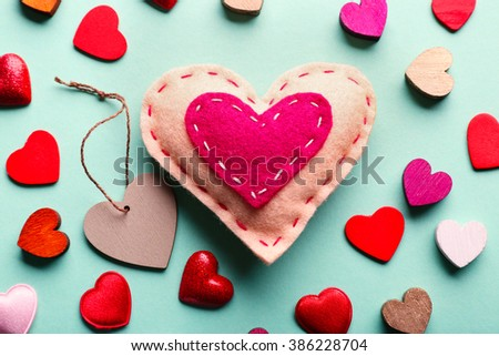 Valentines Hearts on turquoise background