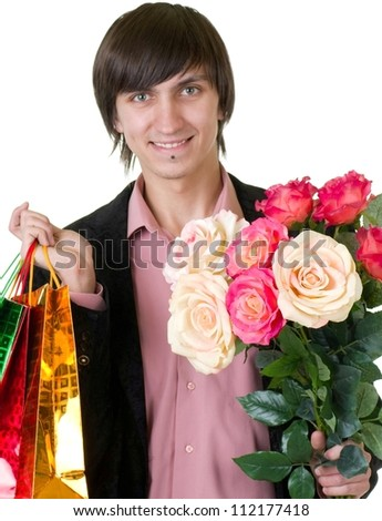 Valentines Man with flower on white background. Proposal scene - stock photo