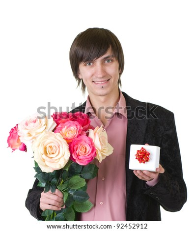 Valentines Man with flowers and gift isolated on white background - stock photo