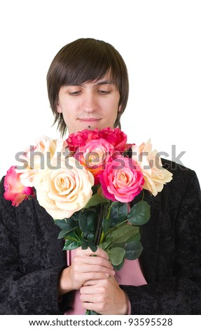 Valentines Man with flowers isolated on white background - stock photo