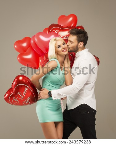 Valentines photo of kissing couple - stock photo