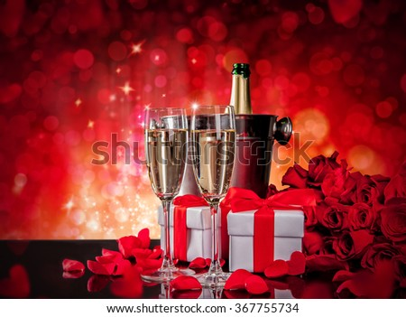 Valentines still life with champagne and roses - stock photo