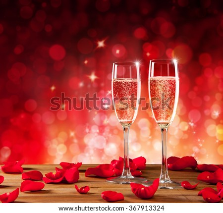 Valentines still life with champagne and roses