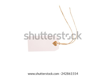 Valentines tag isolated on white background. - stock photo