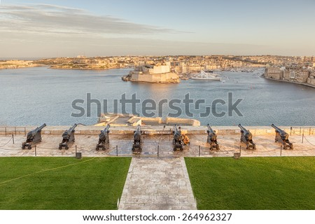 VALETTA, MALTA - JANUARY 18 2015: View to Fort Saint Angelo from Upper Barrakka Gardens over Saluting Battery, Valetta, Malta