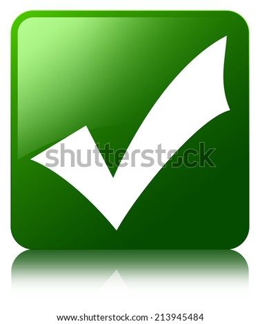 Validate icon glossy green reflected square button