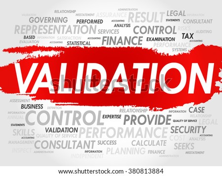 VALIDATION word cloud, business concept - stock photo