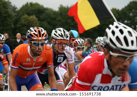 VALKENBURG, NETHERLANDS - SEPTEMBER 29 : Cyclists during the cycling world championship september 29, 2012 in Valkenburg, The Netherlands. - stock photo