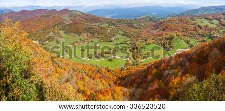 Vall d'en Bas fall landscape in La Garrotxa, Catalonia - stock photo
