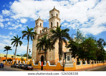 Valladolid, Mexico. Cathedral de San Servasio during the day in Valladolid the city in Yucatan, Mexico. Cloudy sky