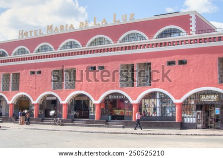 VALLADOLID, MEXICO - JANUARY 20, 2015: Hotel Maria de La Luz next to the town square in Valladolid, Mexico offers 70 rooms in a beautiful colonial style building - stock photo