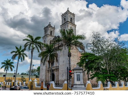 Valladolid, Mexico, May 17, 2017 - The Cathedral of San Gervasio - Exterior