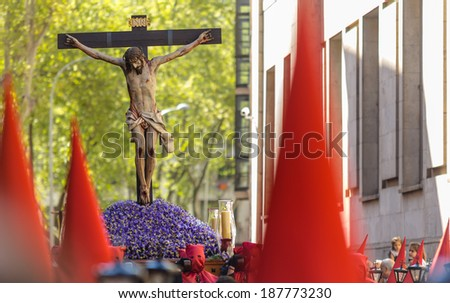 VALLADOLID, SPAIN - APRIL 17, 2014: Jesuschrist sculpture in the religious processions during Holy Week on Good Thursday, on April 17, 2014 in Valladolid, Spain. - stock photo