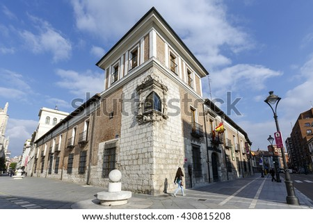 Valladolid, Spain - March 23, 2016: Valladolid Pimentel Palace. Birthplace of King Philip II. Example of palatial architecture in Valladolid, now home to the Provincial de Valladolid. spain - stock photo