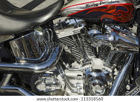 VALLADOLID, SPAIN - SEPTEMBER 2, 2012: Engine block of a Harley Davidson  Scream Eagle 103 motorcycle  at a meeting of vintage cars in Valladolid, Spain on September 2, 2012 - stock photo