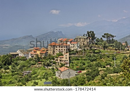 Vallecalle, mountain village in the Nebbio region, Northern Corsica, France, Europe - stock photo