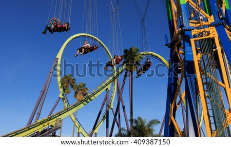Vallejo, California March 24th 2016 Roller coaster and SkyScreamer ride located at Six Flags Discovery Kingdom in Vallejo, California.