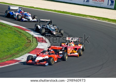 VALLELUNGA CIRCUIT, ROME, ITALY - NOVEMBER 2 2008. Superleague Formula, cars on track during race 1