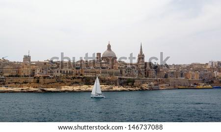 Valletta and Marsamxett Harbour, Malta - stock photo