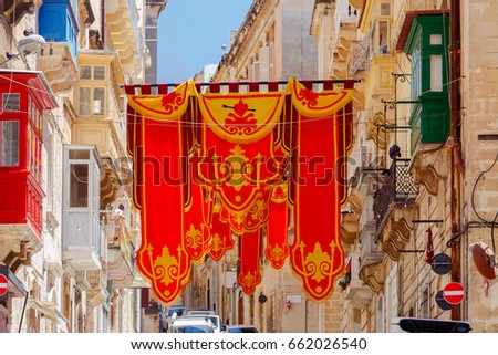 Valletta. Flags on the day of St. Augustine.